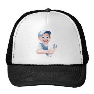 Mechanic Cartoon Plumber Man Trucker Hat