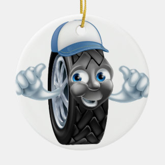 Mechanic cartoon tire giving thumbs up ceramic ornament