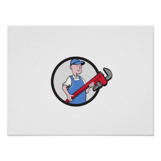 Mechanic Cradling Pipe Wrench Circle Cartoon Poster