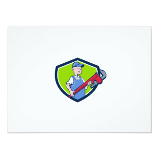 Mechanic Cradling Pipe Wrench Crest Cartoon Card