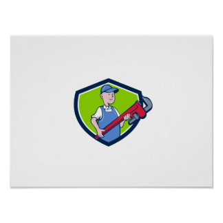 Mechanic Cradling Pipe Wrench Crest Cartoon Poster