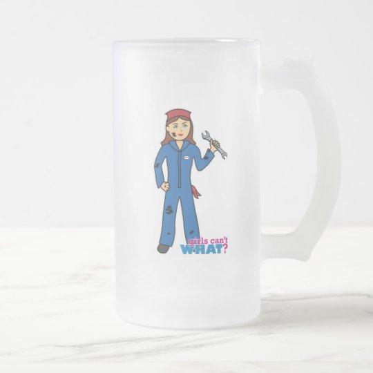 Mechanic Girl Frosted Glass Beer Mug