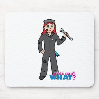 Mechanic Girl - Light/Red Mouse Pad