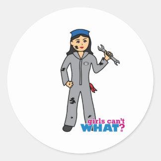 Mechanic Girl - Medium Classic Round Sticker
