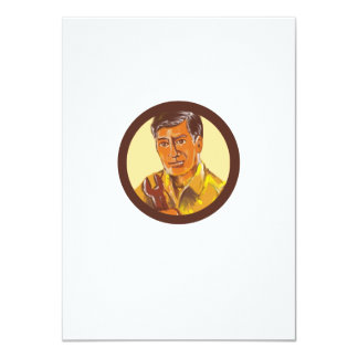 Mechanic Holding Spanner Circle Watercolor Card