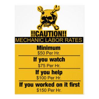 Mechanic labor rates - Caution Letterhead