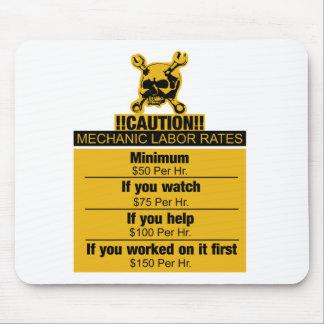 Mechanic labor rates - Caution Mouse Pad