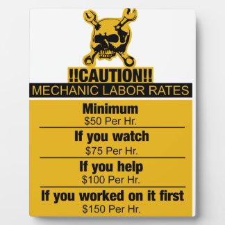 Mechanic labor rates - Caution Display Plaque