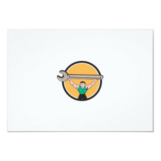 Mechanic Lifting Giant Spanner Wrench Circle Carto Card