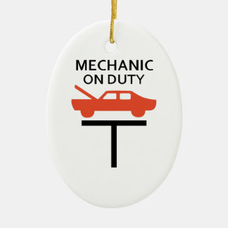 MECHANIC ON DUTY Double-Sided OVAL CERAMIC CHRISTMAS ORNAMENT