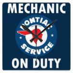 Mechanic on Duty sign. Pontiac Service version Square Wall Clock