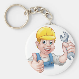 Mechanic or Plumber with Spanner Keychain