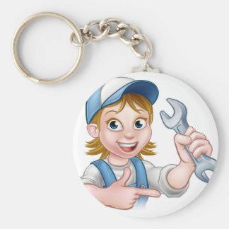 Mechanic or Plumber Woman Cartoon Character Keychain