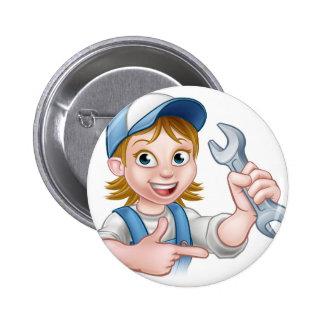 Mechanic or Plumber Woman Cartoon Character Pinback Button