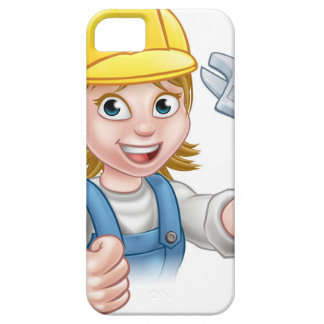 Mechanic or Plumber Woman Holding Spanner iPhone SE/5/5s Case