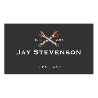 Mechanic or Repairman Copper Wrench Black Double-Sided Standard Business Cards (Pack Of 100)