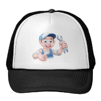 Mechanic Plumber Cartoon Man Trucker Hat