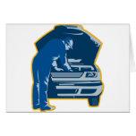 mechanic repair fixing car auto card