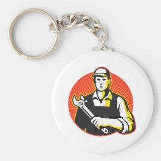 Mechanic Repairman With Adjustable Wrench Retro Basic Round Button Keychain