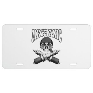 Mechanic Skull Spark plugs License Plate