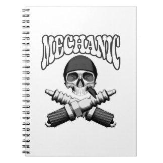 Mechanic Skull Spark plugs Notebooks