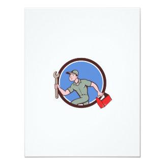 Mechanic Spanner Toolbox Running Circle Cartoon Card