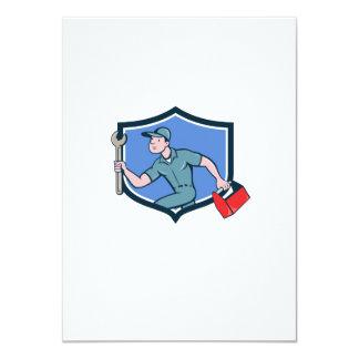 Mechanic Spanner Toolbox Running Crest Cartoon Card