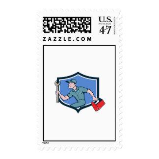 Mechanic Spanner Toolbox Running Crest Cartoon Postage Stamp