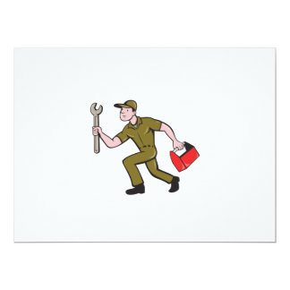 Mechanic Spanner Toolbox Running Isolated Cartoon Card