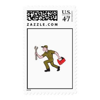 Mechanic Spanner Toolbox Running Isolated Cartoon Postage