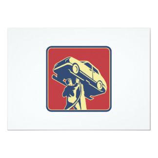 Mechanic Technician Car Repair Retro Card