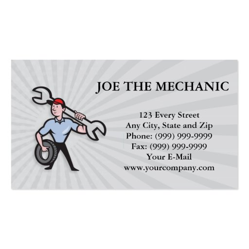 Mechanic With Tire Socket Wrench And Tire Business Cards