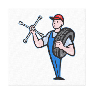 Mechanic With Tire Socket Wrench And Tire Canvas Print