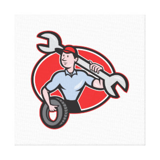 Mechanic With Tire Socket Wrench And Tire Gallery Wrap Canvas