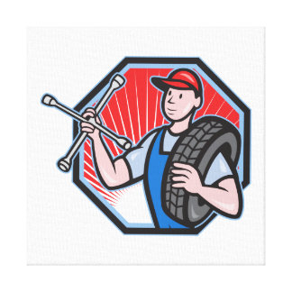 Mechanic With Tire Socket Wrench And Tire Stretched Canvas Prints