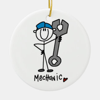 Mechanic With Wrench Stick Figure Ceramic Ornament