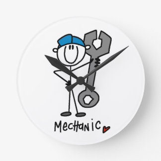 Mechanic With Wrench Stick Figure Round Clocks