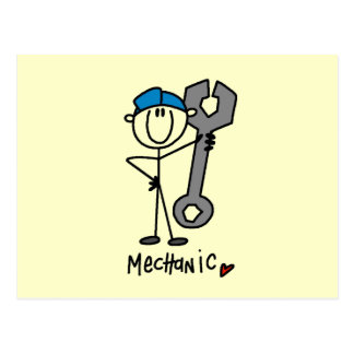 Mechanic With Wrench Stick Figure Postcard