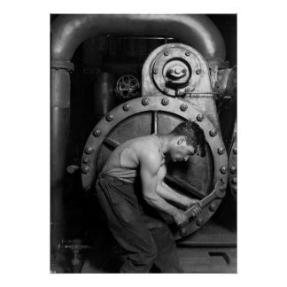 Mechanic Working On Old Steam Pump Poster