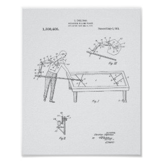 Mechanical Billiard 1919 Patent Art - White Paper Poster