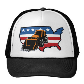 mechanical digger bulldozer with american flag map hats