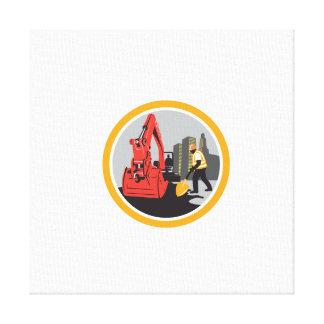 Mechanical Digger Construction Worker Circle Canvas Print