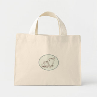 Mechanical Digger Excavator Oval Etching Mini Tote Bag