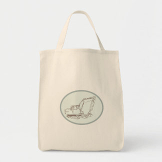 Mechanical Digger Excavator Oval Etching Tote Bag