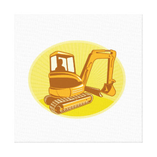 Mechanical Digger Excavator Retro Canvas Print
