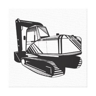 Mechanical Digger Excavator Retro Stretched Canvas Print