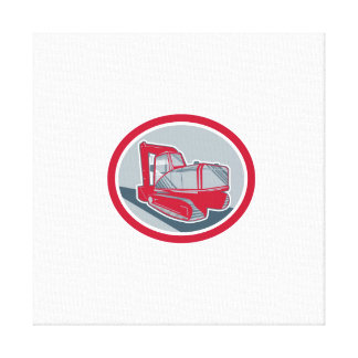 Mechanical Digger Excavator Retro Gallery Wrapped Canvas