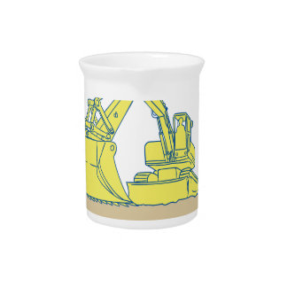 Mechanical Digger Excavator Ribbon Scroll Drawing Drink Pitchers
