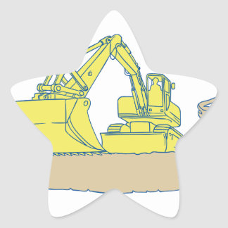 Mechanical Digger Excavator Ribbon Scroll Drawing Star Sticker