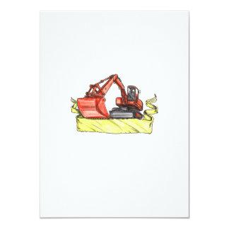 Mechanical Digger Excavator Ribbon Tattoo Card